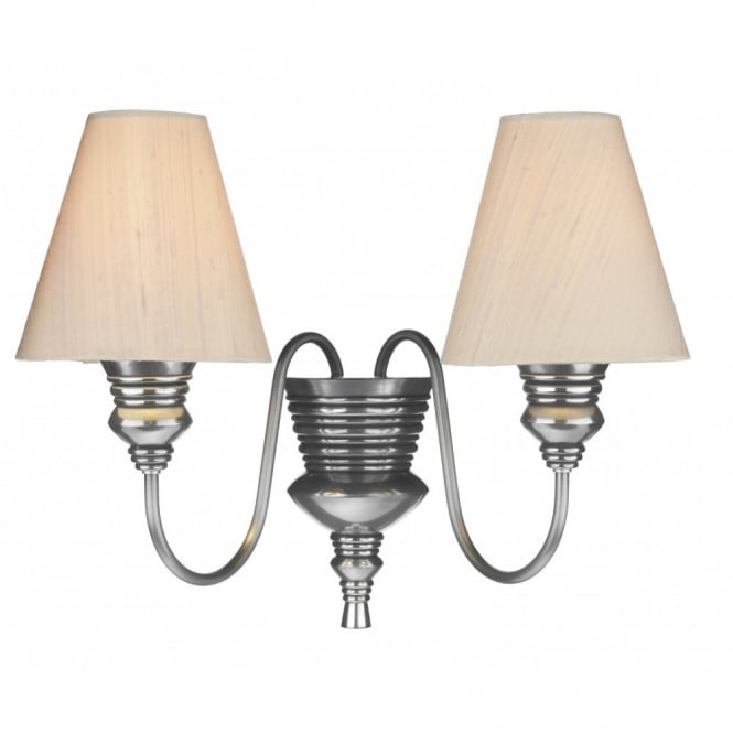 The David Hunt Lighting Collection DOREEN twin wall light taupe silk shades