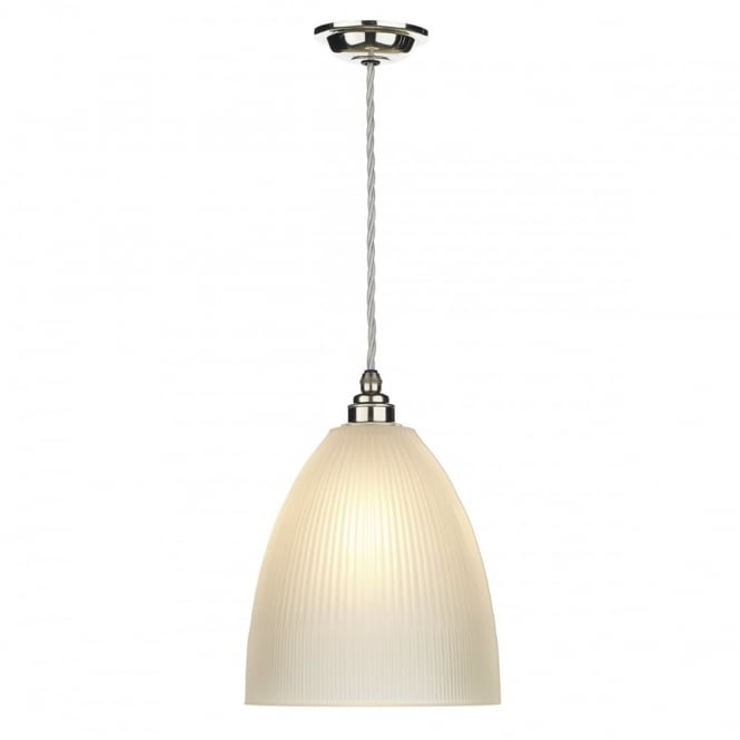 The David Hunt Lighting Collection DUXFORD traditional nickel chrome pendant with ribbed satin glass shade
