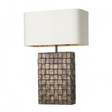 textured copper table lamp with ivory and bronze shade