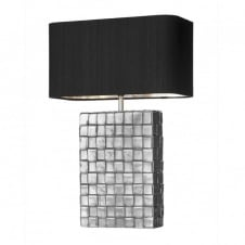 squared pewter table lamp with black and silver shade