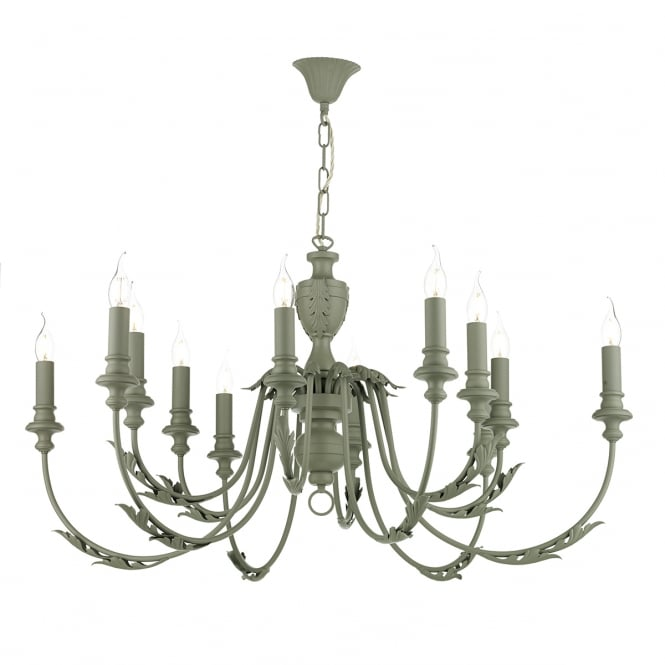EMILE 12 light rustic ceiling pendant in an ash grey finish