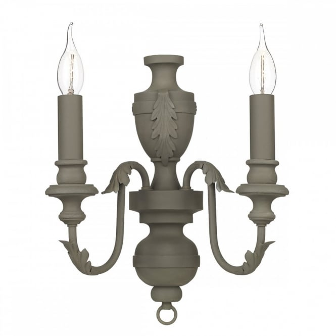 The David Hunt Lighting Collection EMILE French Style Twin Wall Light, Painted in Mole Brown soft matt effect paint for a modern twist of a classic Style.