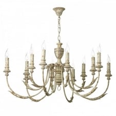 EMILE Large 12 Light Fitting. A Rustic French Style Chandelier, hand painted aged effect, reminiscent of a Vintage Antique.