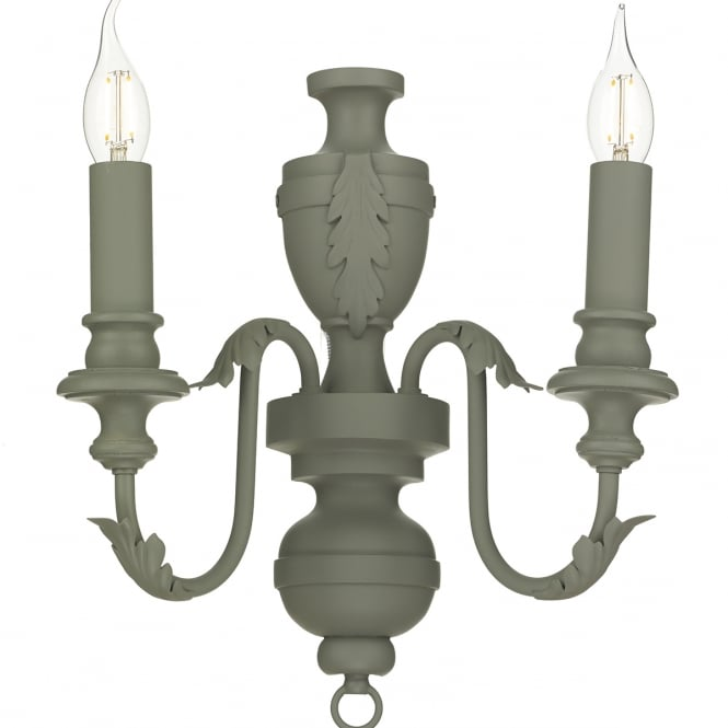 EMILE rustic French style double wall light in an ash grey finish