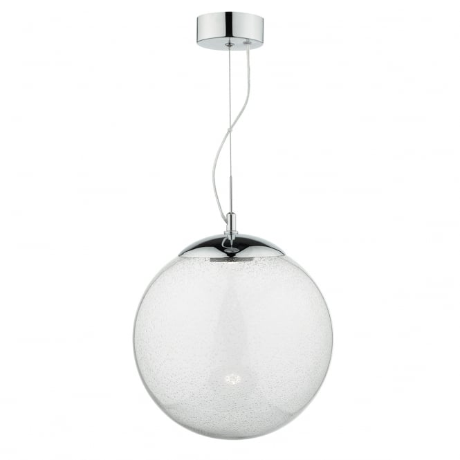 The David Hunt Lighting Collection EPOCH seeded glass globe LED ceiling pendant with chrome suspension