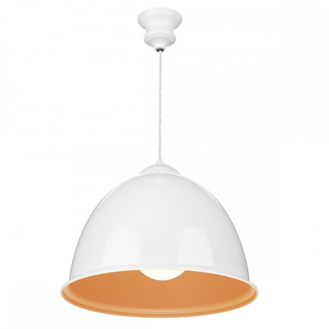 Large White Orange Pendant Light Fitting Retro Lighting