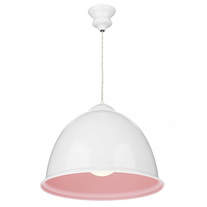 The David Hunt Lighting Collection EUSTON decorative retro ceiling pendant with gloss white outer and pastel pink inner