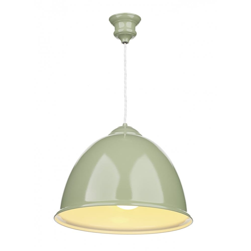 Modern Ceiling Pendant, Double Insulated. Olive Green Finish