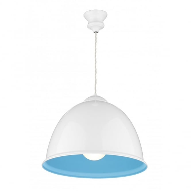 The David Hunt Lighting Collection EUSTON white & blue ceiling pendant