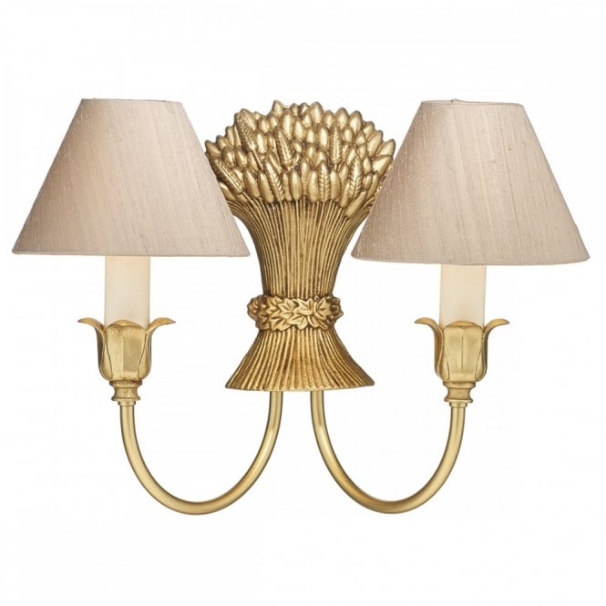 The David Hunt Lighting Collection FULHAM gold double wall light with silk shades (taupe)