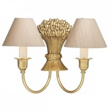 FULHAM gold double wall light with silk shades (taupe)