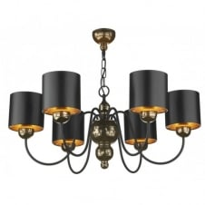 GARBO 6light bronze ceiling pendant black shades