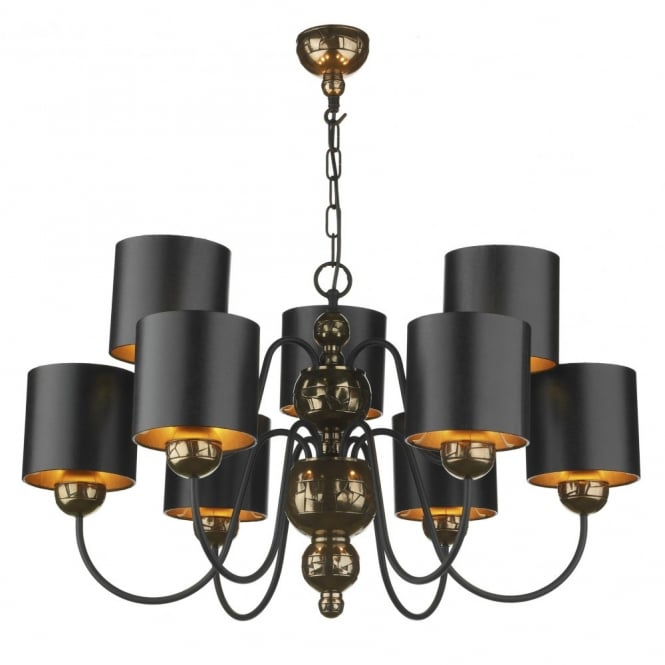 The David Hunt Lighting Collection GARBO bronze ceiling light black shades