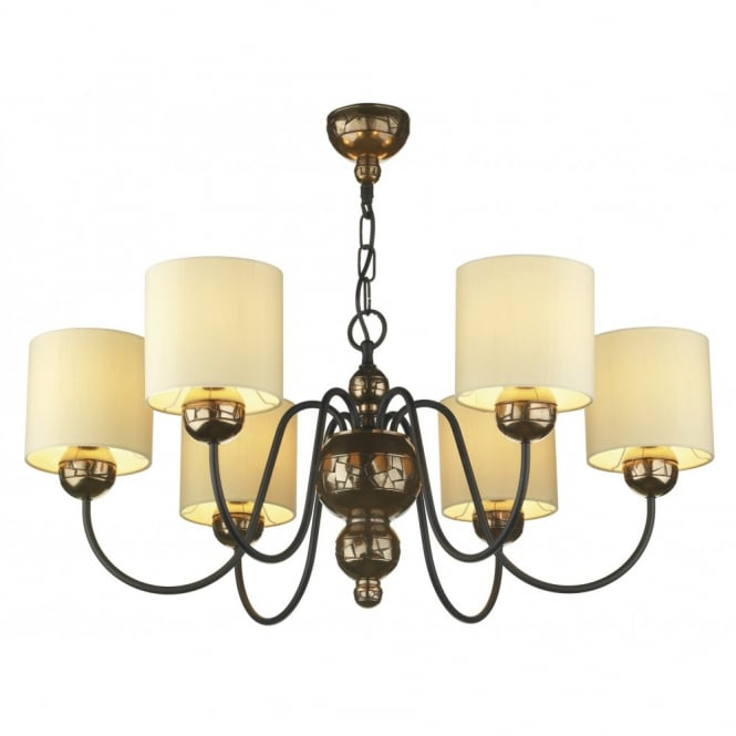 The David Hunt Lighting Collection GARBO bronze ceiling light cream shades