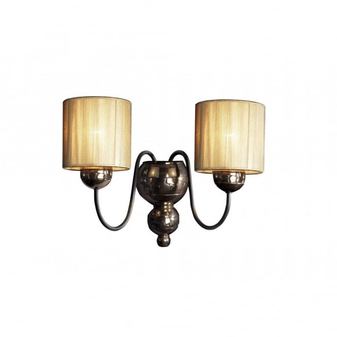 The David Hunt Lighting Collection GARBO bronze wall light with gold string shades