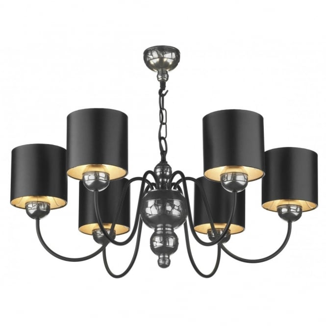 The David Hunt Lighting Collection GARBO pewter ceiling light black shades