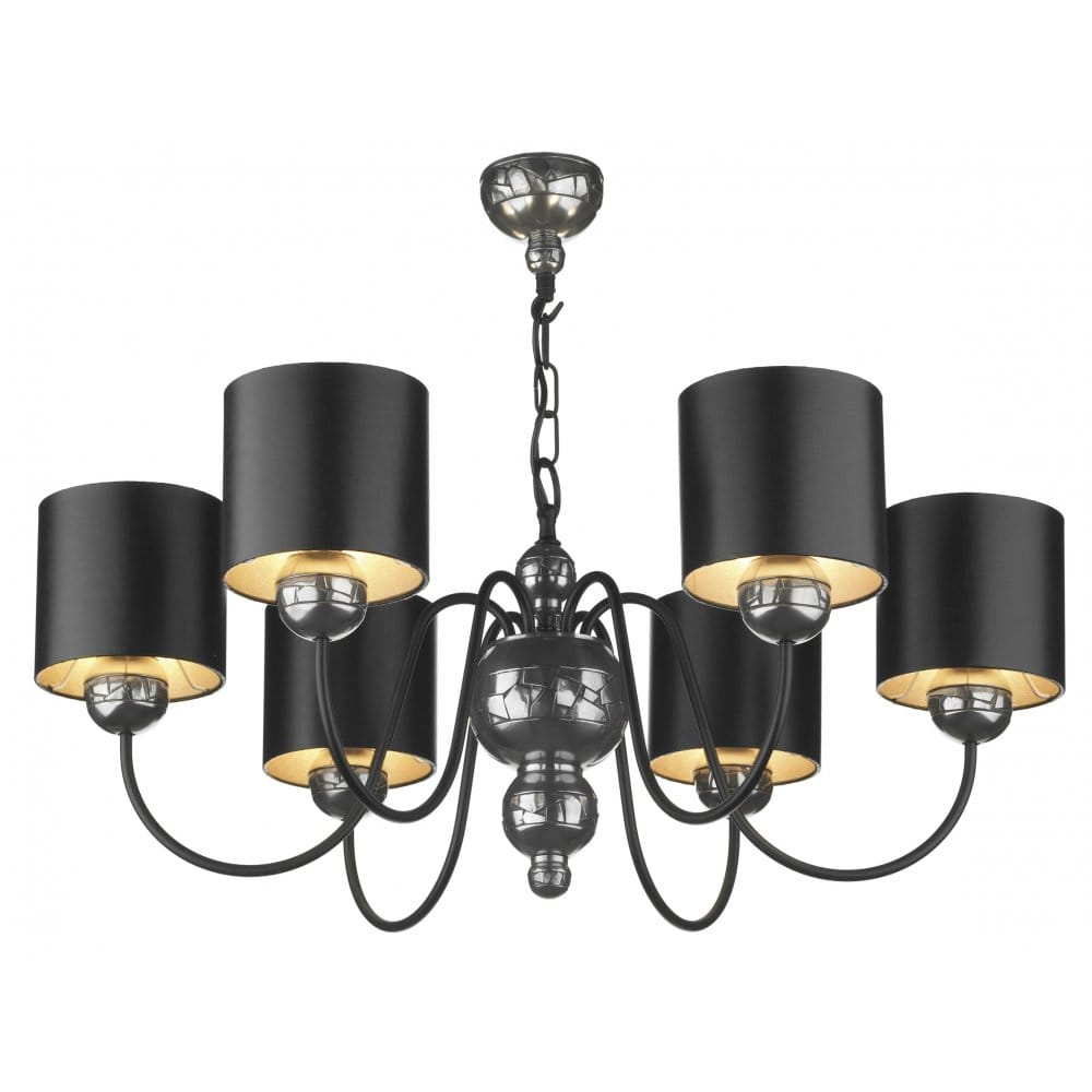 Garbo Pewter Ceiling Pendant With Black Silver Shades