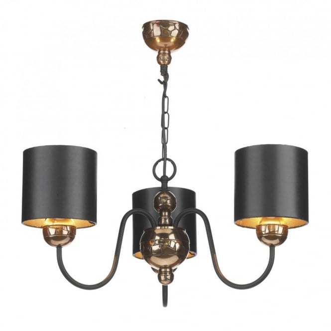 The David Hunt Lighting Collection GARBO traditional bronze ceiling light with black shades