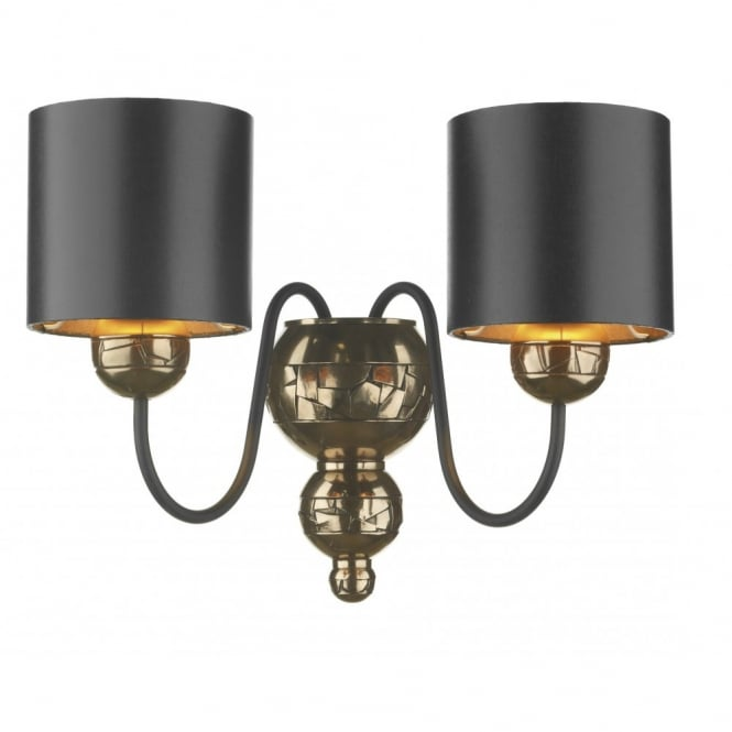 The David Hunt Lighting Collection GARBO twin bronze wall light black shades