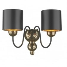 GARBO twin bronze wall light black shades
