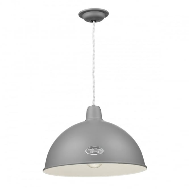 The David Hunt Lighting Collection GROUCHO rustic vintage style ceiling pendant in a lead grey finish