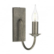 HERRIOT single candle style wall light in bronze finish