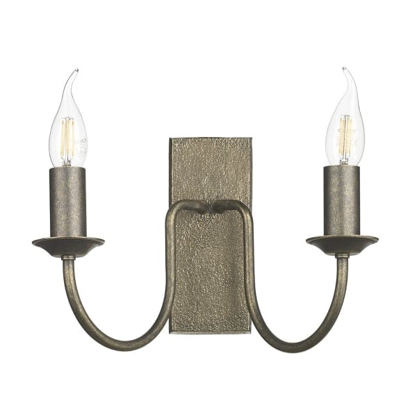 Rustic Design Twin Candle Wall Light in Bronze - British Made