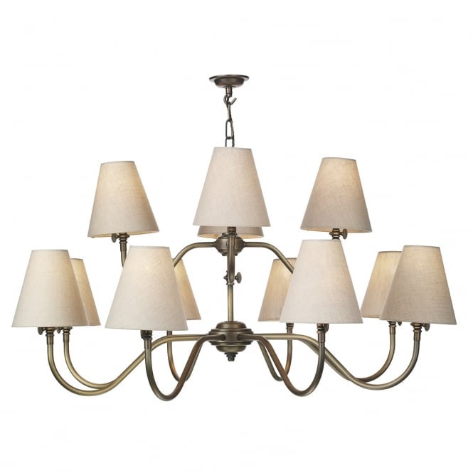 The David Hunt Lighting Collection HICKS 12 light pendant chandelier in antique brass with linen shades