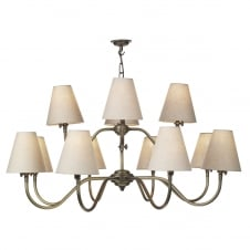 HICKS 12 light pendant chandelier in antique brass with linen shades