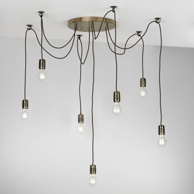 The David Hunt Lighting Collection HUCKLEBERRY 7 light bronze ceiling pendant cluster light
