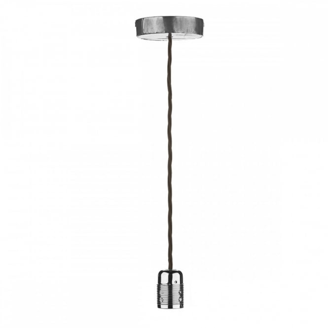 The David Hunt Lighting Collection HUCKLEBERRY single vintage ceiling pendant with lead finish and braided flex