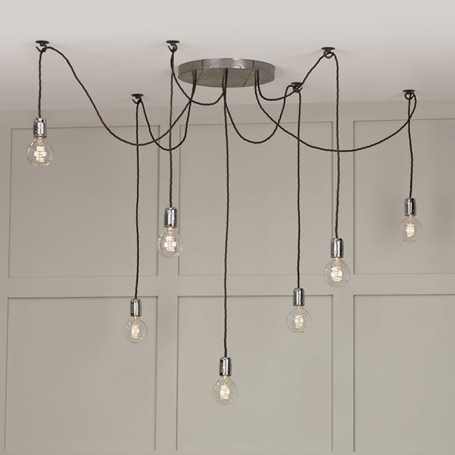 The David Hunt Lighting Collection HUCKLEBERRY vintage 7 light cluster pendant with ceiling hooks