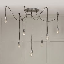 HUCKLEBERRY vintage 7 light cluster pendant with ceiling hooks
