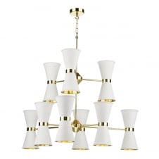 contemporary 18 light pendant in white and brass
