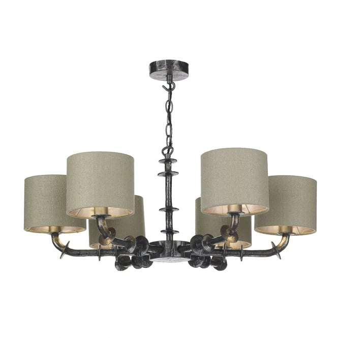The David Hunt Lighting Collection ICARUS 6 light hammered steel effect ceiling pendant with silk shades