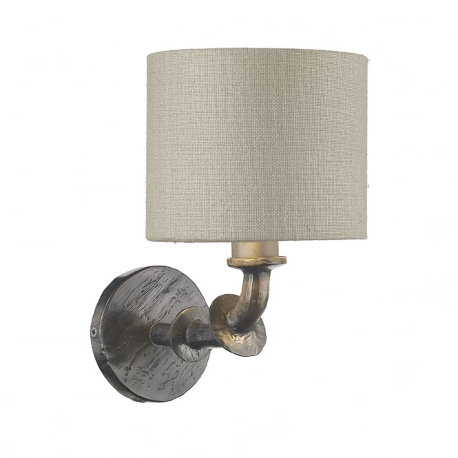 The David Hunt Lighting Collection ICARUS hammered steel effect single wall light with grey linen shade