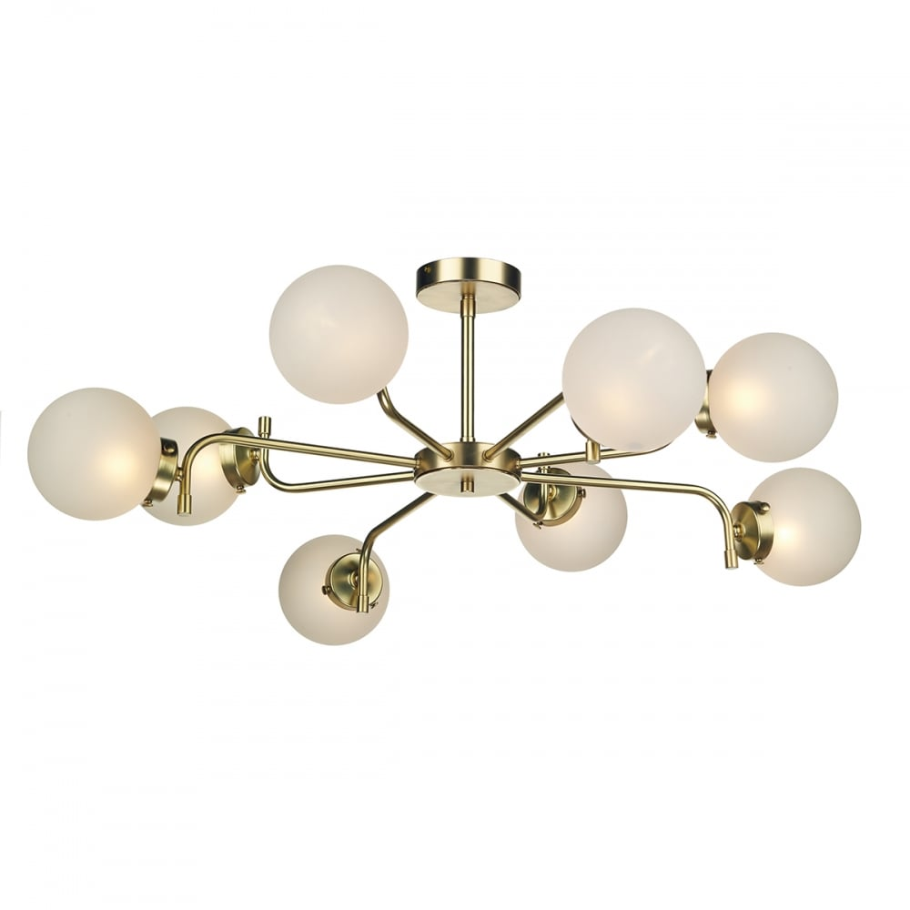 Jazz decadent polished brass 8 light ceiling light with frosted glass polished brass 8 light ceiling light with frosted glass globe shades mozeypictures Image collections