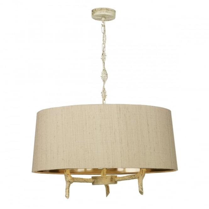 The David Hunt Lighting Collection JOSHUA 3 light ceiling pendant in old ivory finish with taupe silk surround shade