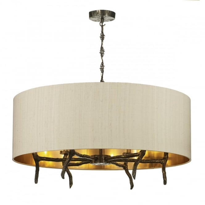 The David Hunt Lighting Collection JOSHUA 6 light bronze pendant with taupe silk and bronze surorund shade