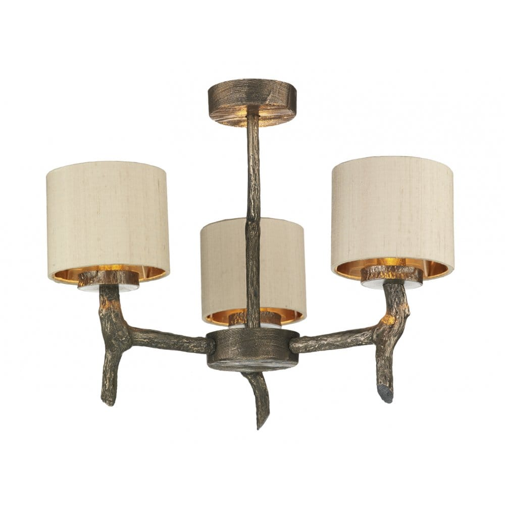 Rustic bronze ceiling light with wooden effect taupe for Ceiling lamp wood
