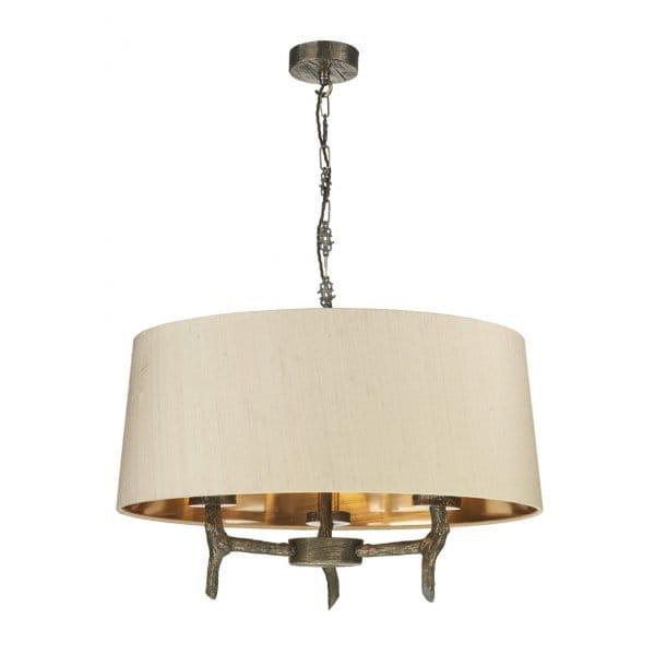 decorative rustic bronze ceiling pendant with wooden design