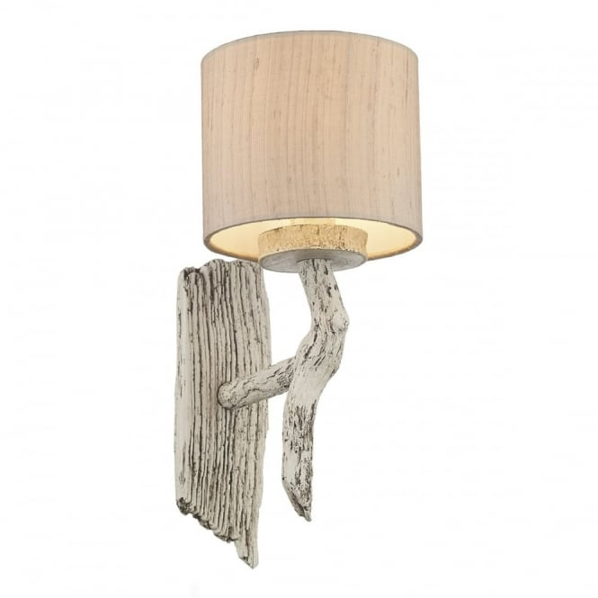 The David Hunt Lighting Collection JOSHUA rustic single wall light in old ivory finish with taupe silk shade