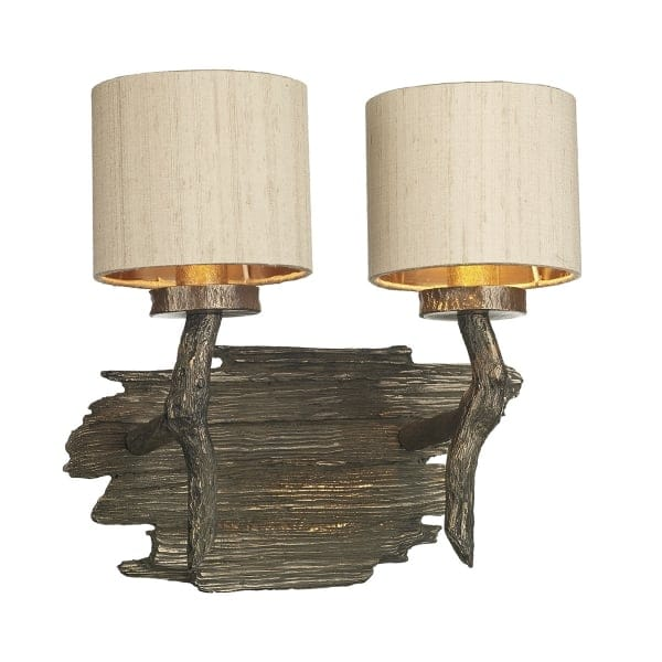 Rustic Wood Effect Double Wall Light in Bronze with Taupe Silk Shades