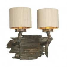 bronze wood effect double wall light with taupe silk shades