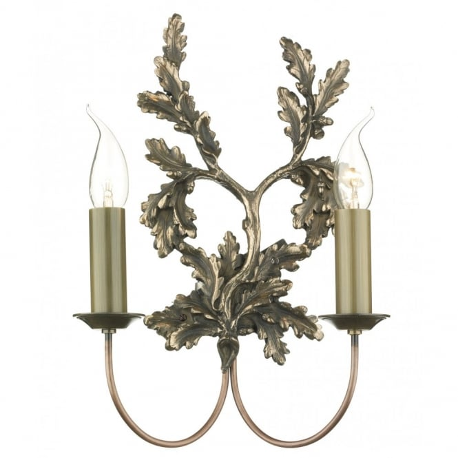 The David Hunt Lighting Collection LEAF twin bronze wall light