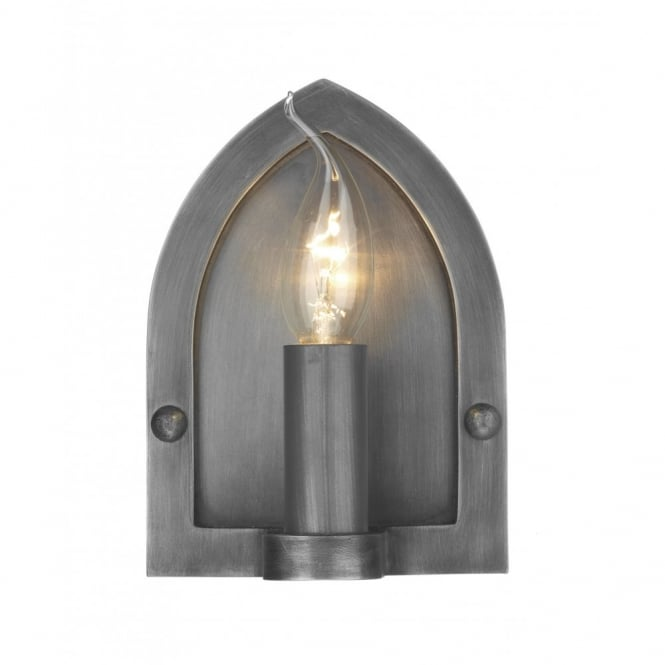 The David Hunt Lighting Collection LINDISFARNE antique pewter wall light