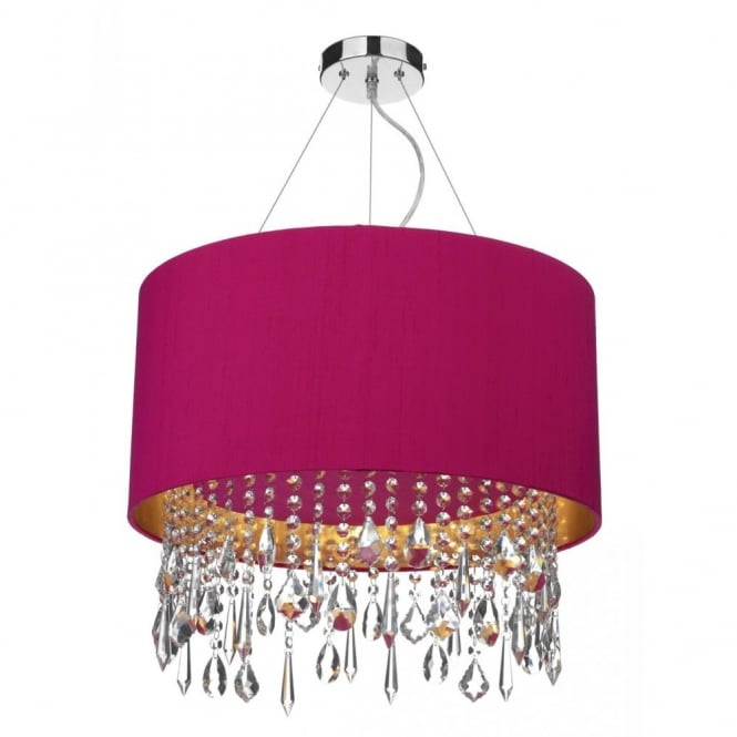 The David Hunt Lighting Collection LIZARD pink ceiling pendant light shade, crystal droplets