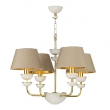 modern 4 light pendant in white and brass with silk shades