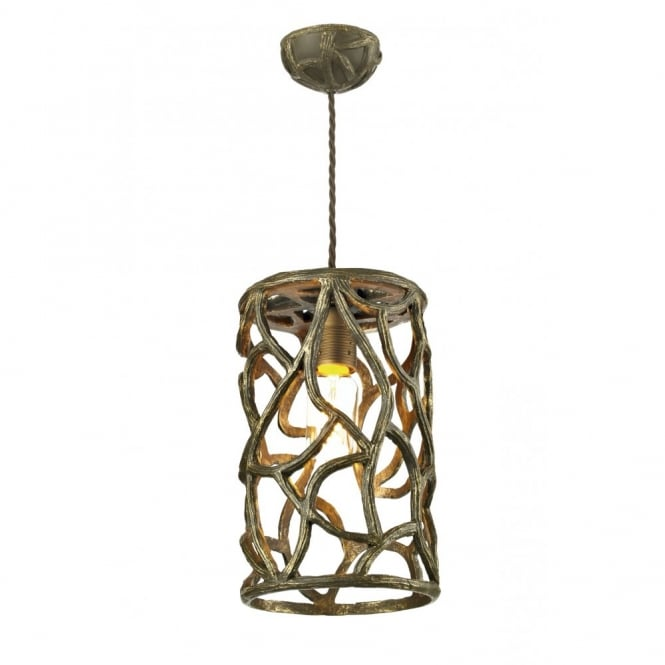 The David Hunt Lighting Collection LYRA brown gold vine look ceiling pendant