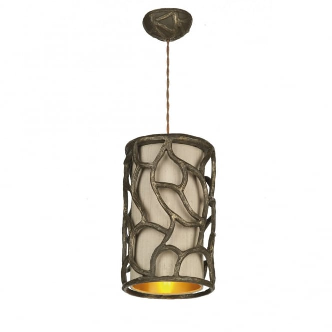 The David Hunt Lighting Collection LYRA rustic gold cocoa ceiling pendant with taupe shade